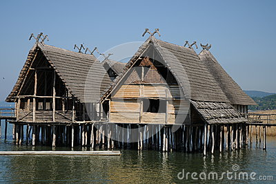The Pile Dwellings On Lake Constance In Unteruhldingen Stock Photo.