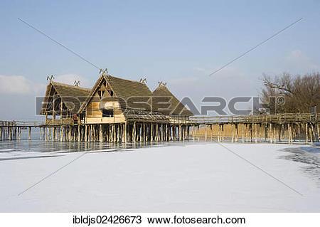 """Stock Photo of """"Settlement of reconstructed stilt houses."""