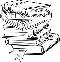 Stack of books clipart black and white 4 » Clipart Station.