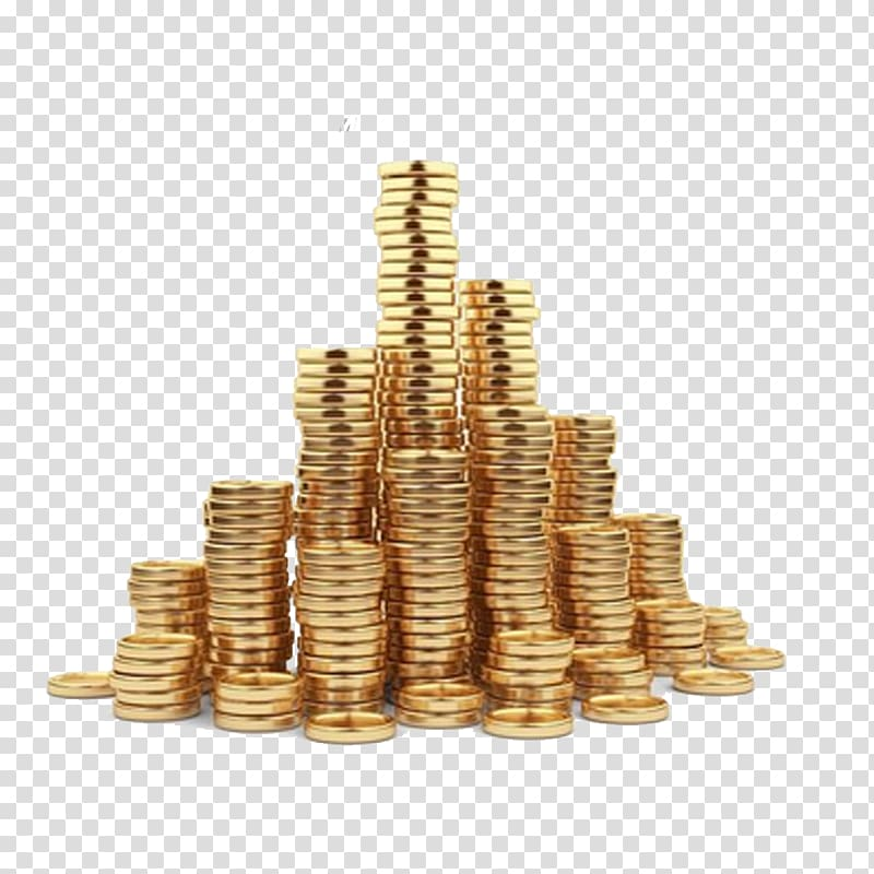 Gold coin Illustration, Pile of gold coins with transparent.