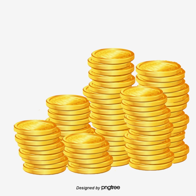 Pile Of Gold Coins PNG Images.