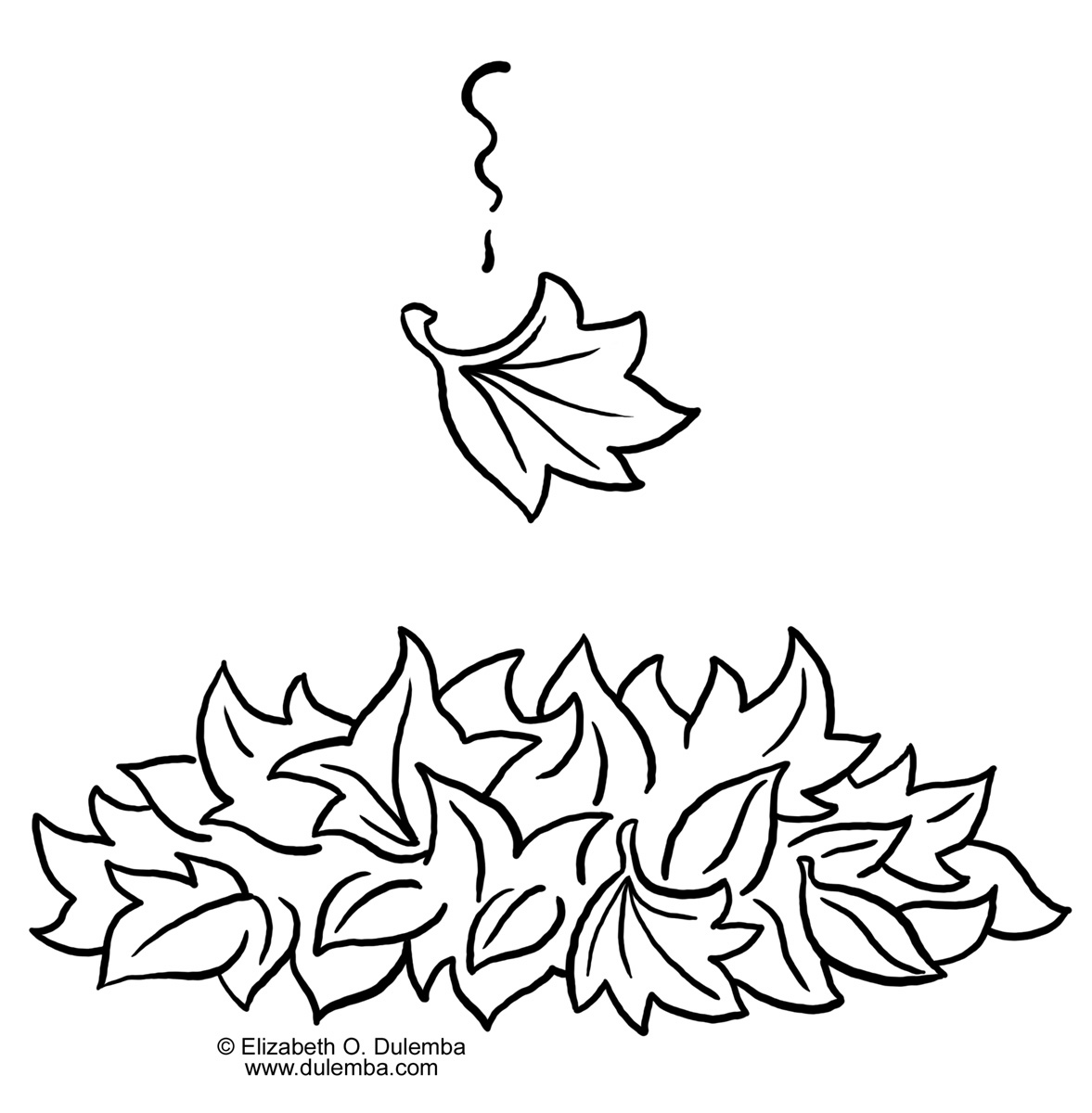 Leaf Pile Clipart Black And White.