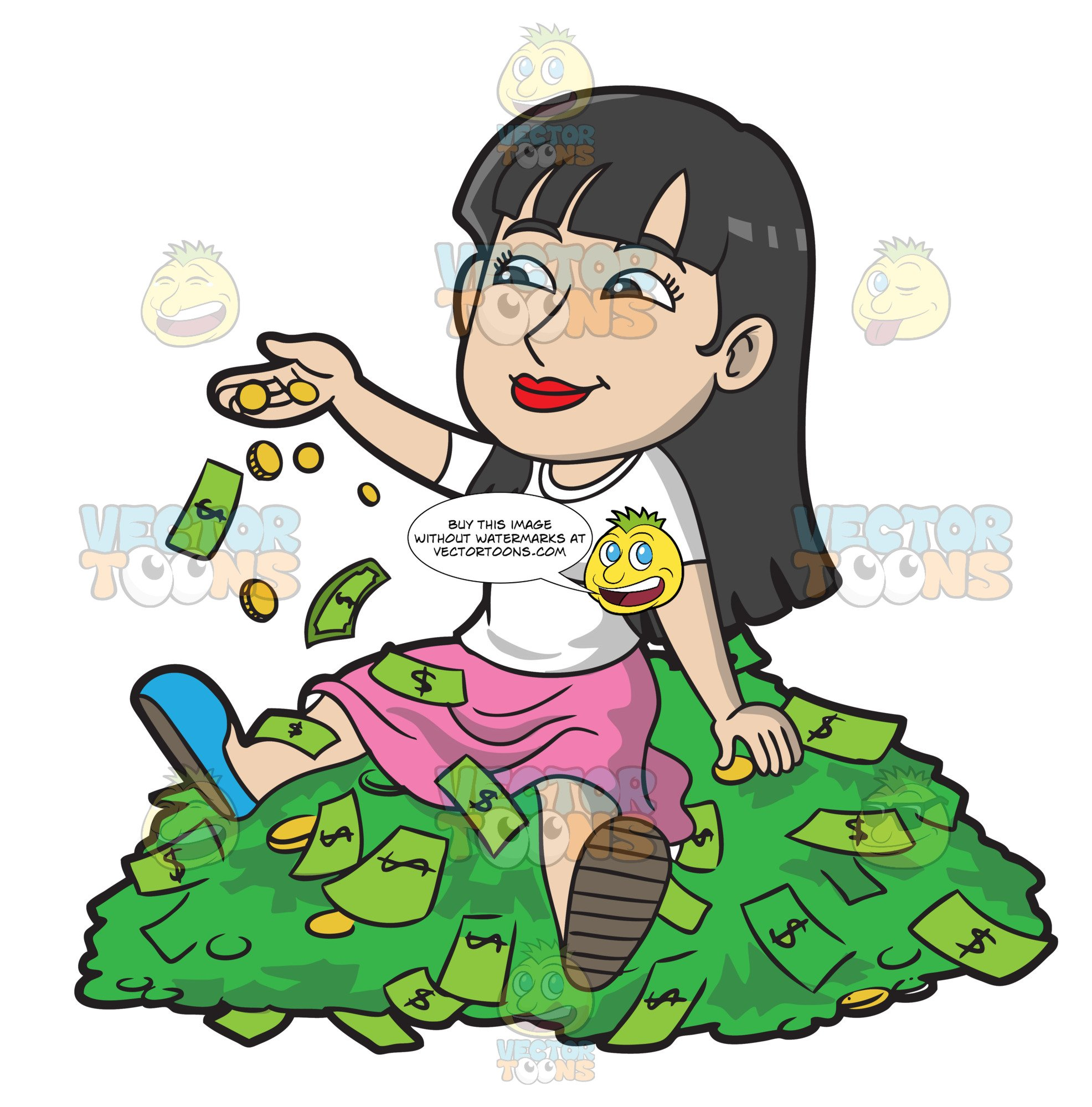 A Woman Sitting On A Pile Of Money.