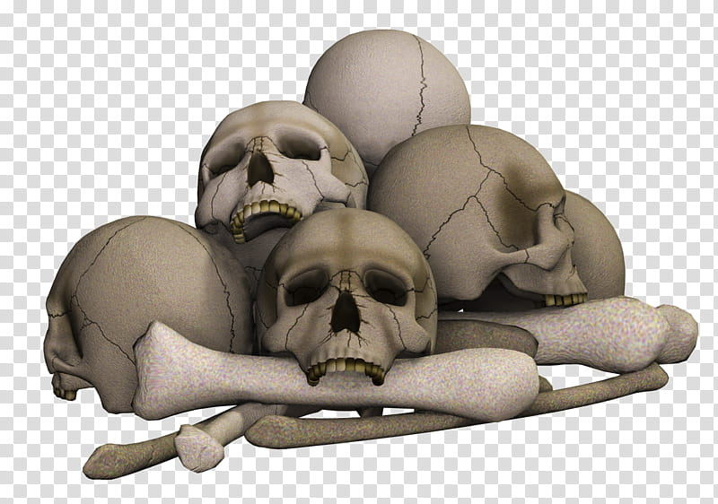 Skulls, pile of human skulls and bones illustration.