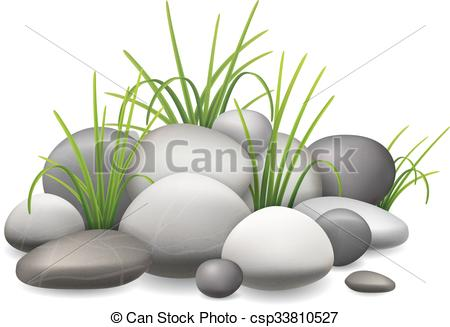 Vector Illustration of Stones and green grass.