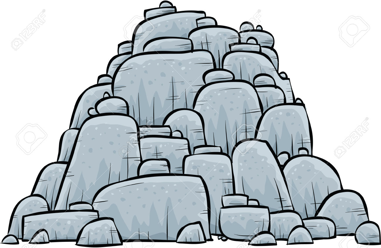 A Pile Of Grey, Stone Boulders. Royalty Free Cliparts, Vectors.