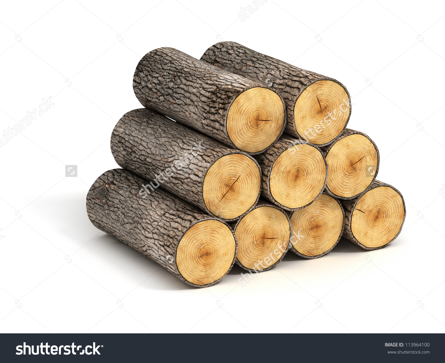 Stack Firewood Logs On White Background Stock Illustration.
