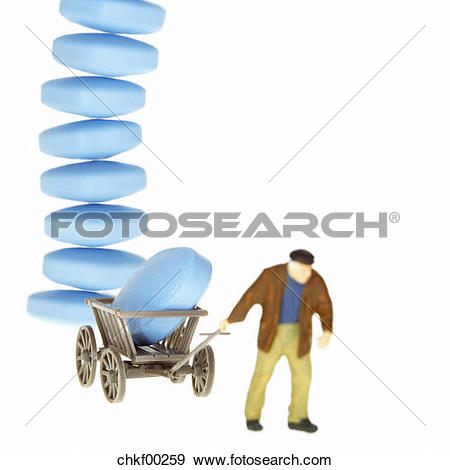 Stock Photograph of Man pulling trolley with pills piled up.