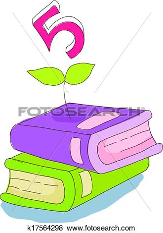 Clip Art of The books are piled up k17564298.
