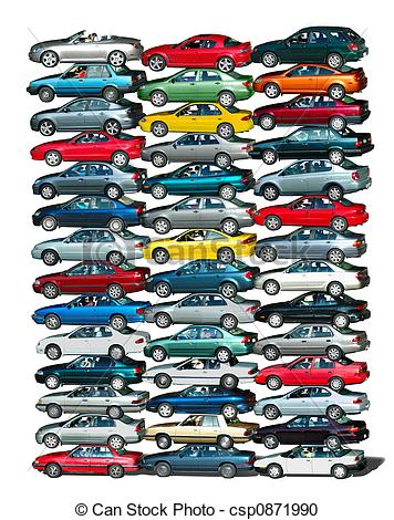 Stock Photography of Car Pile.