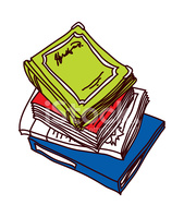 The Books Are Piled UP stock vectors.