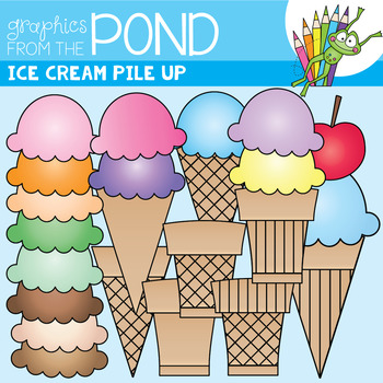 Ice Cream Pile Up Clip Art Set by Graphics From the Pond.