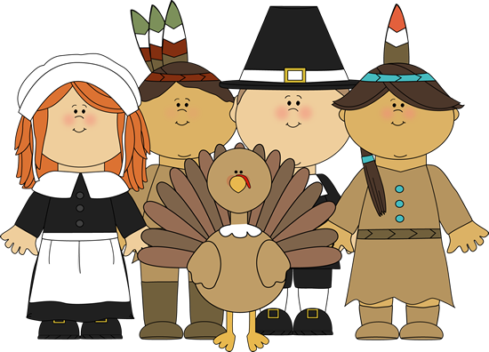 Pilgrims and Indians and a Turkey Clip Art.