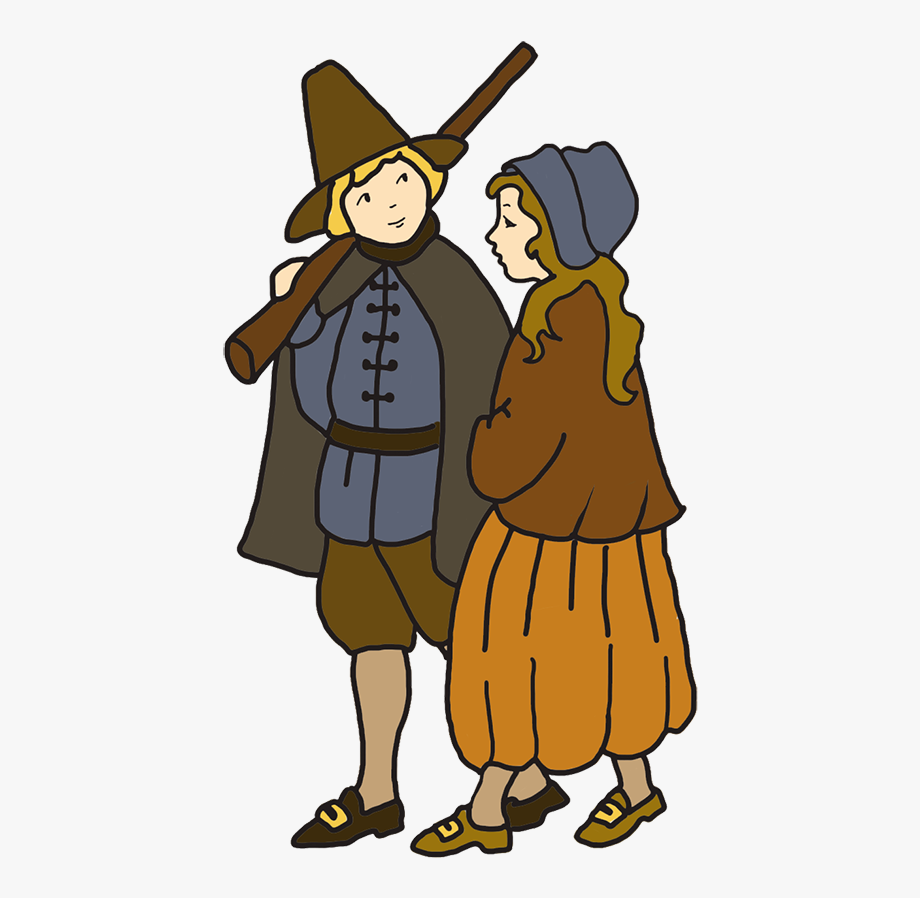 Thanksgiving Drawing Pilgrim Boy And Girl.