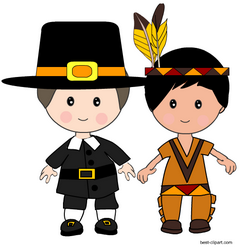 Pilgrim boy and native american boy clip art.