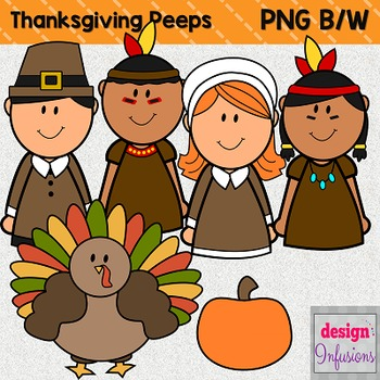 Clipart Peep Kids: Thanksgiving Pilgrims and Indians!.