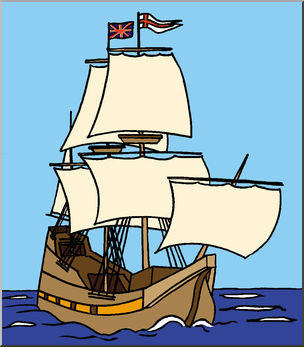 Clip Art: Mayflower Ship (Color).