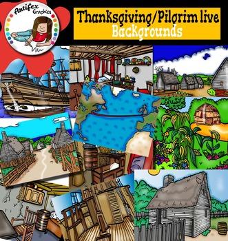 Thanksgiving: Pilgrim life backgrounds clip art.