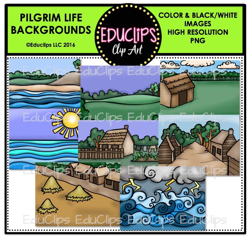 Pilgrim Life backgrounds Clip Art Bundle (Color and B&W).