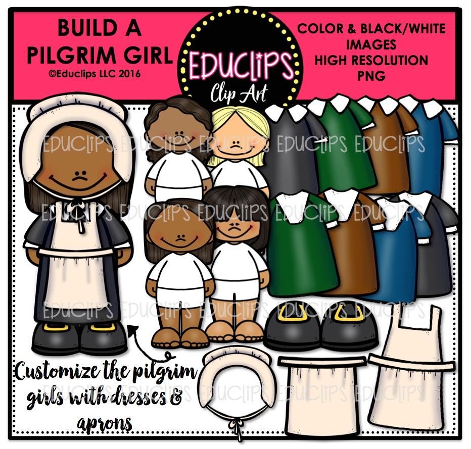 Build A Pilgrim Clip Art Double Bundle (Color and B&W).