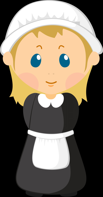 Girl Pilgrim Png Clipart Image.