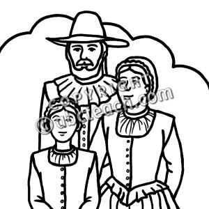 Pilgrim family clip art in.