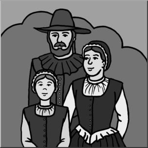 Clip Art: Pilgrim Family Grayscale I abcteach.com.