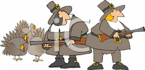 Cartoon Pilgrims Hunting Turkeys.