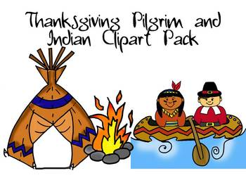 Thanksgiving Pilgrim and Indian Clipart Pack by Learning 4 Keeps Design!.