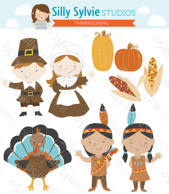 Thanksgiving Clip Art: Pilgrims, Turkey, Native American Indians.