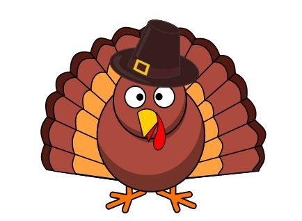 Cartoon Turkey in Pilgrim Hat #Thanksgiving #clipart.