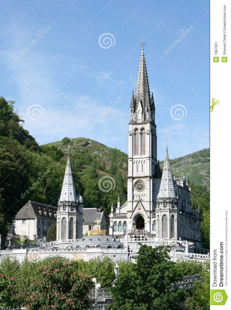 Roman Catholic Basilica In Pilgrimage Town Lourdes Royalty Free.