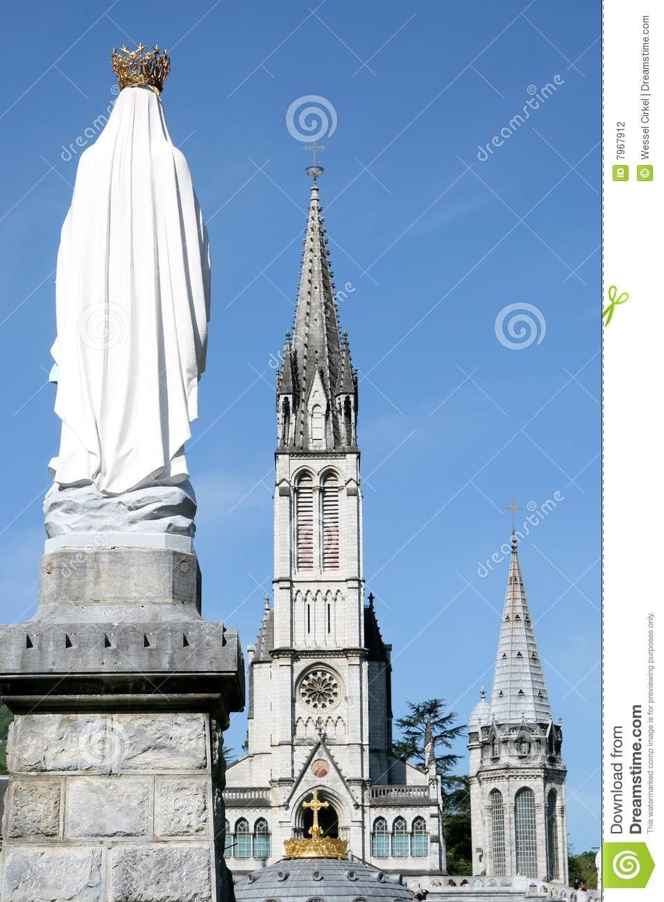 Virgin Mary And Basilica In Pilgrim Town Lourdes Stock Photography.