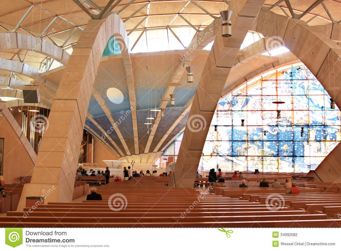 Interior Of Padre Pio Pilgrimage Church, Italy Editorial.