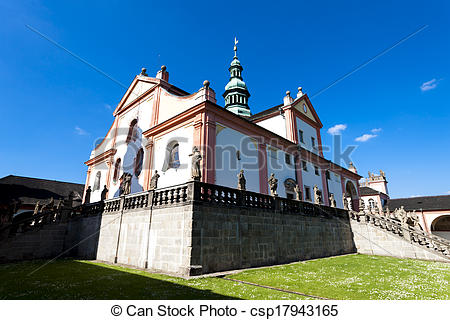 Stock Image of pilgrimage church in Svata Hora near Pribram, Czech.