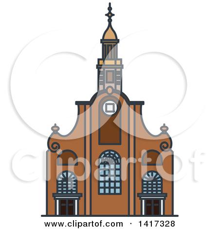 Clipart of a Dutch Landmark, Pilgrim Fathers Church.