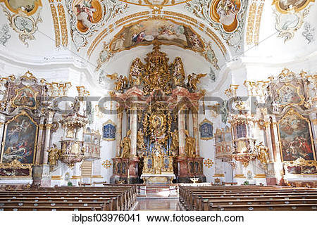 """Stock Photography of """"Interior and altar of the Pilgrimage Church."""