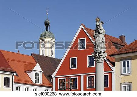 Pictures of Germany, Bavaria, Swabia, View of st mary column and.
