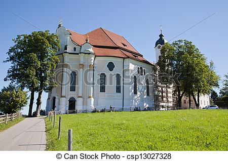 Stock Photo of Pilgrimage Church of Wies is one of the word.