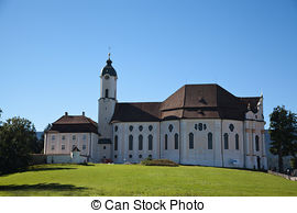 Stock Image of Pilgrimage Church of Wies is one of the word.
