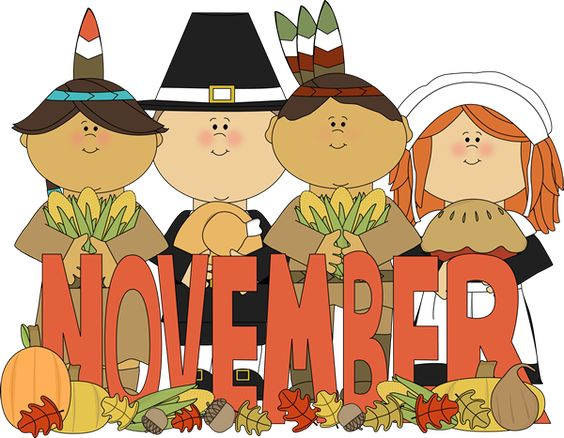 Month of November pilgrims and Indians..