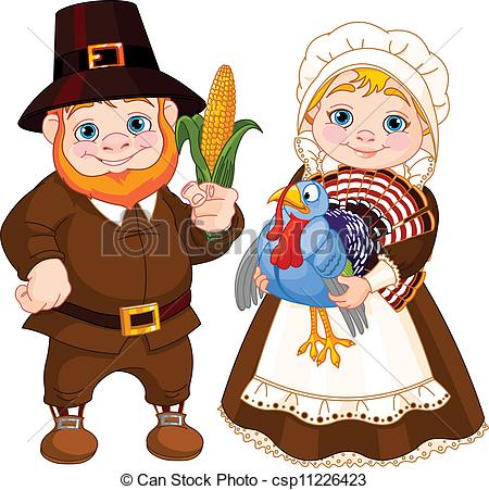 Cute pilgrims clipart.