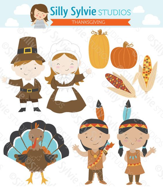 Thanksgiving Clip Art: Pilgrims, Turkey, Native American Indians.
