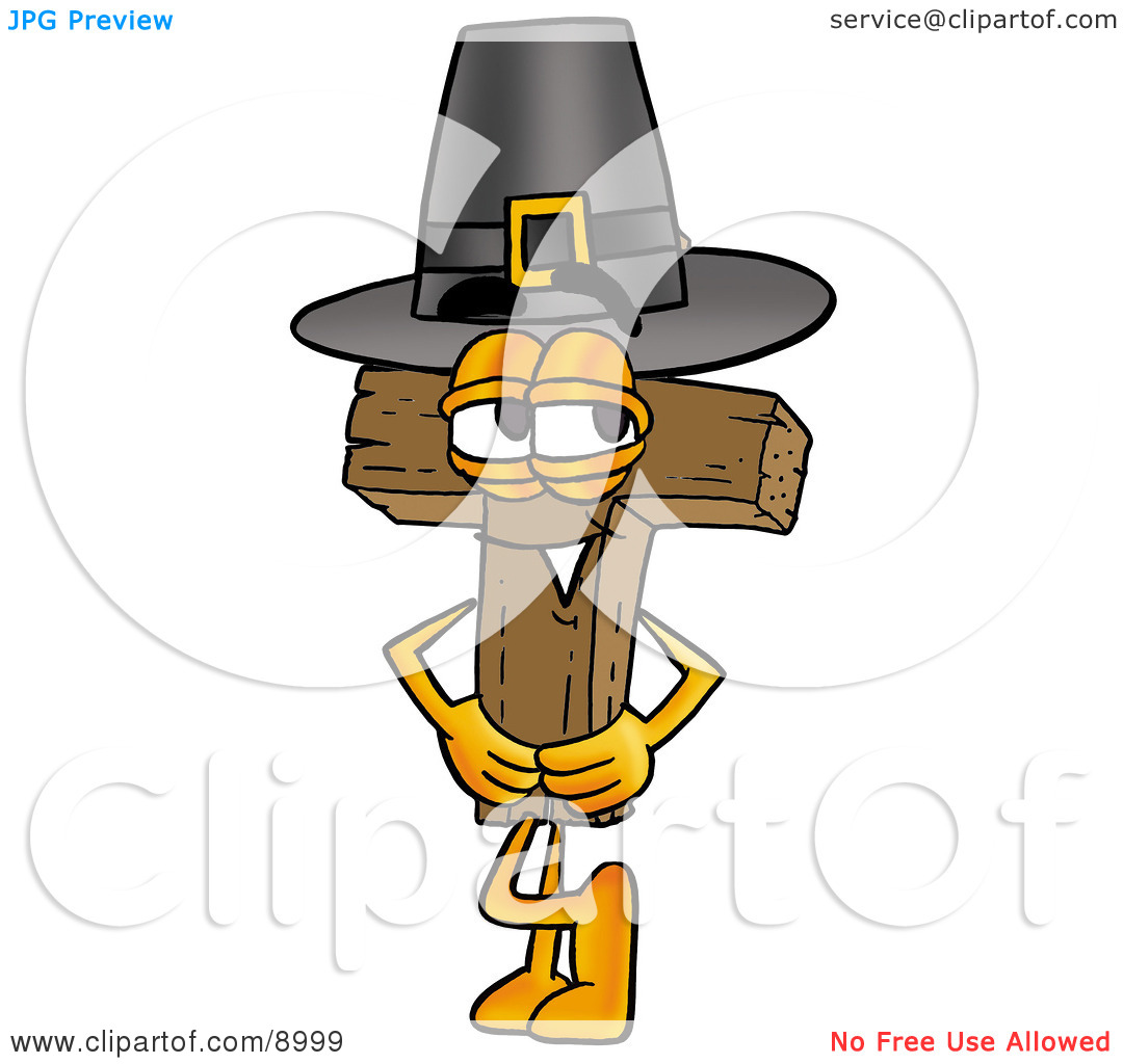 Clipart Picture of a Wooden Cross Mascot Cartoon Character Wearing.