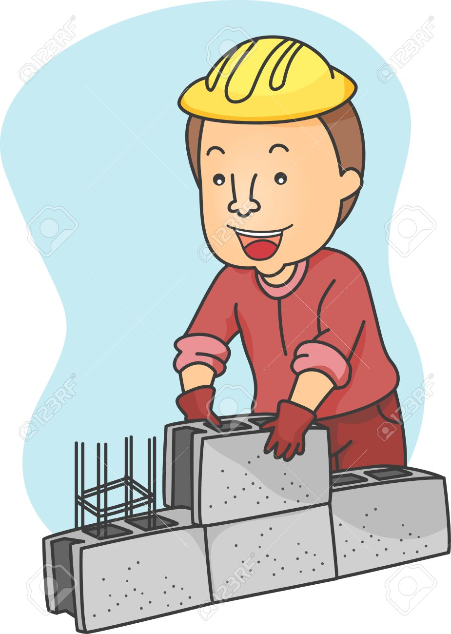 Illustration Of A Man Piling Hollow Blocks Stock Photo, Picture.