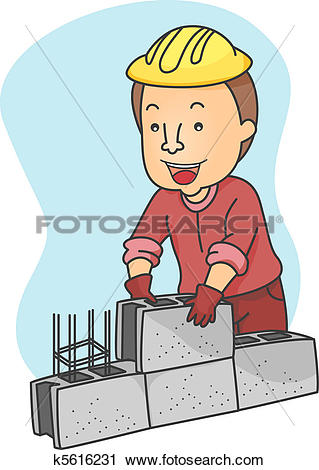 Clipart of Man Piling Hollow Blocks k5616231.