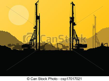 Vector Illustration of Excavator loaders, hydraulic pile drilling.