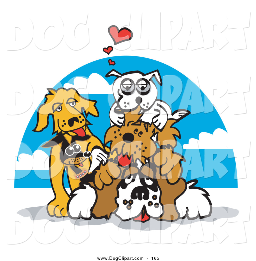 Clip Art of a Group of Dogs Piling on Top of a St Bernard by Andy.
