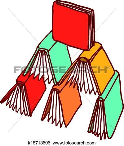 Clip Art of Books piling like a castle k18713606.