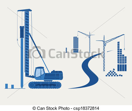 Vector Clip Art of Construction equipment. Silhouettes of pile.